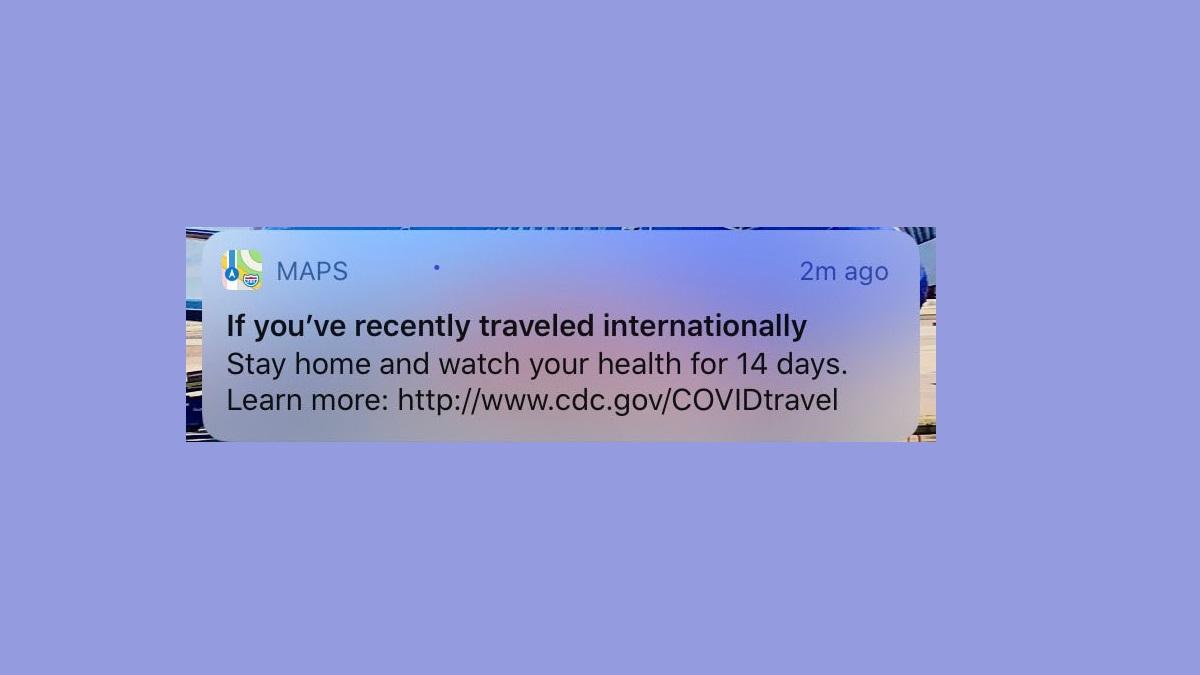 Apple地圖會發通知提醒用戶居家檢疫14天